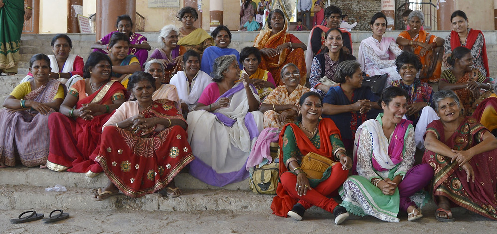 Rescued women enjoying a trip out with Usha Patil & staff members