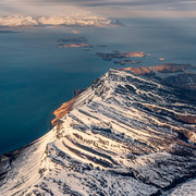 Winter, Aleutian Mountain Range and Paci