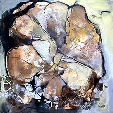"Acrylbild ""Fundstücke 3"", abstrakt, Brauntöne, Natur, Judith C. Riemer"