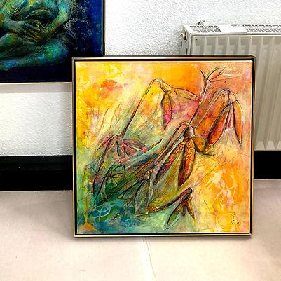 Bild, gelb, orange, Blumen, original Kunstwerk Judith C. Riemer kaufen