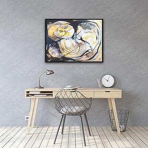 Abstraktes Gemälde Acryl, Naturtöne, braun, schwarz, weiss von Judith C. Riemer