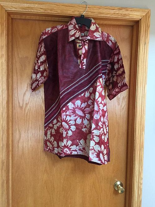 African Men's Short-Sleeve Dress Shirt