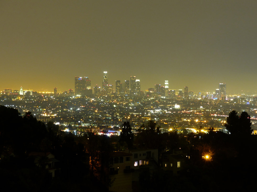 Los Angeles downtown hollywood hills night