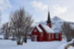 Norvège - Lofoten - Flakstadøya - Flakstad - église