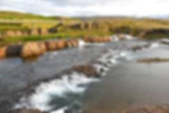 Islande Fossatun camping rivière chute
