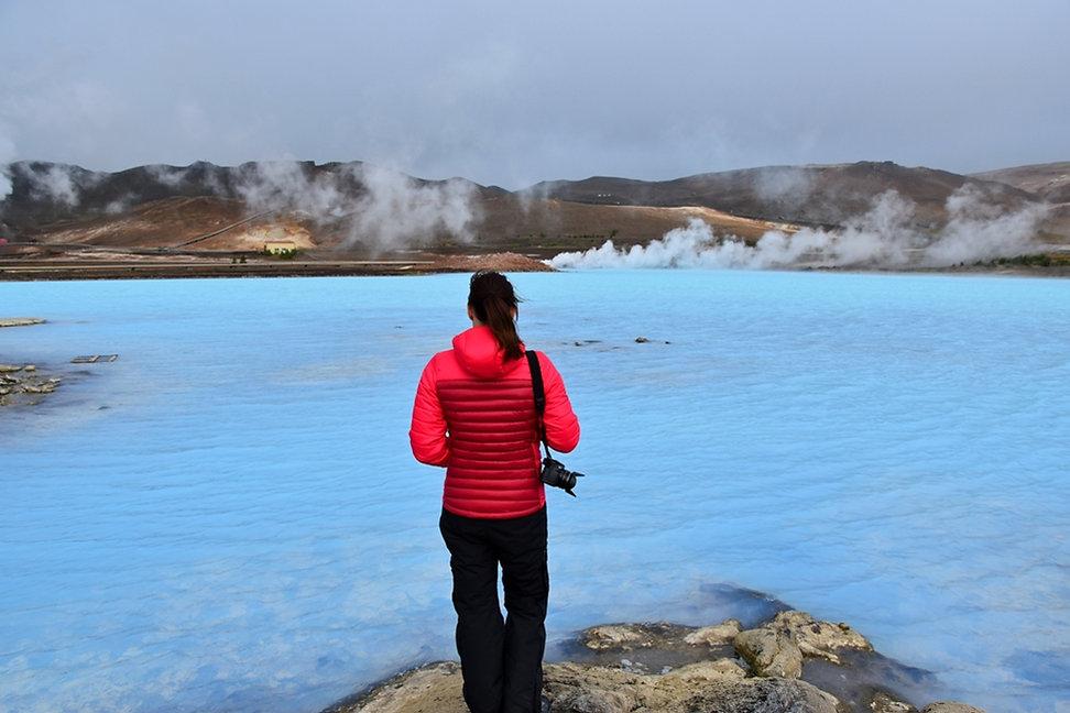 Islande Iceland Lac Myvatn bleu géothermie