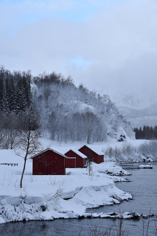 Norvège - hiver - neige - cabane