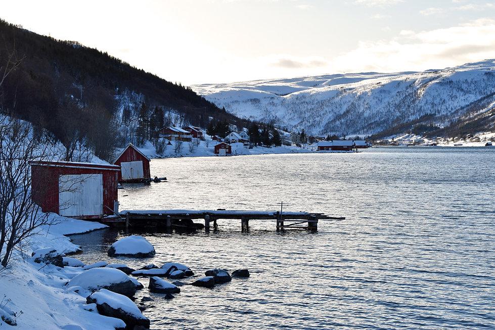 Norvège - Kvaløya - cabanes rouges