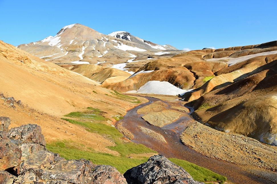 Islande massif Kerlingarfjöll rivière sommet