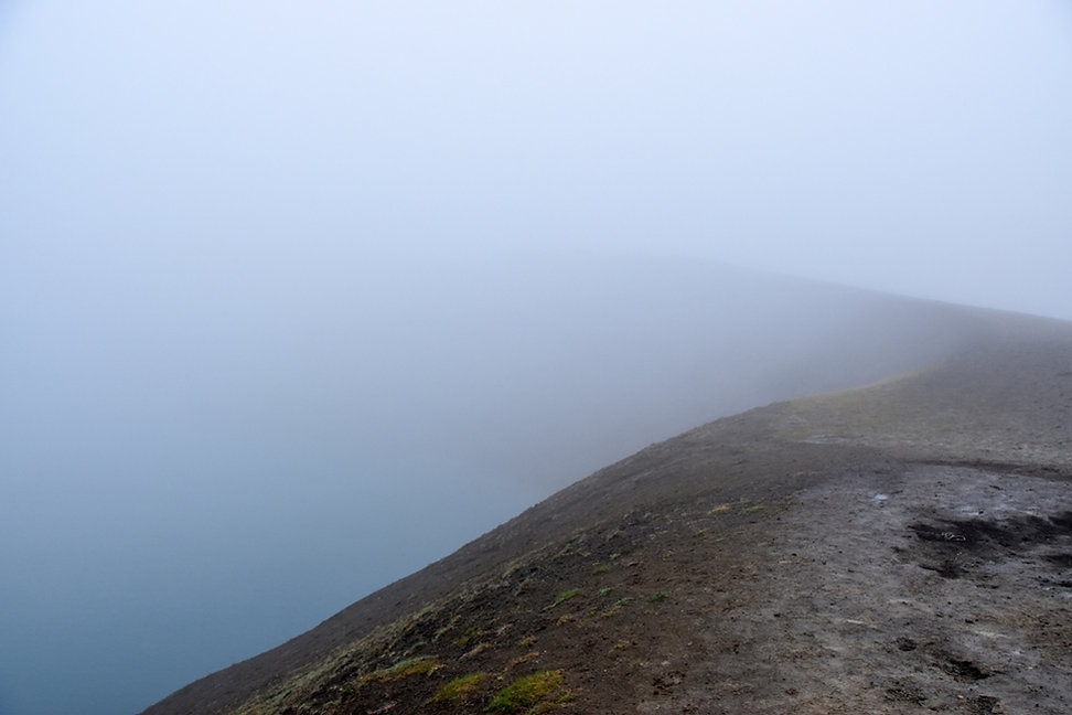 Islande iceland myvatn krafla cratère viti nuages brouillard