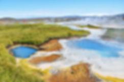 Islande zone géothermique Hveravellir source chaude colorée bleu Raudihver