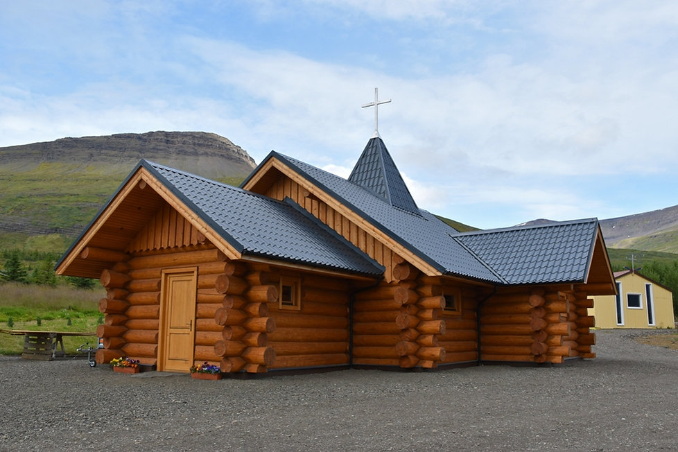 Kollaleira monastery Reydarfjördur eglise bois log church islande iceland