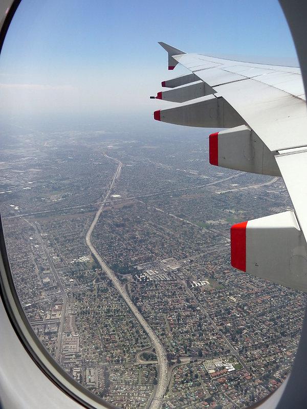 Survol Los Angeles A380 autoroute circulation