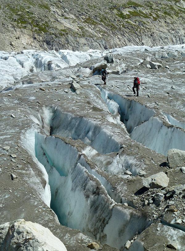 Chamonix - randonnée - glacier d'argentière - crevasses