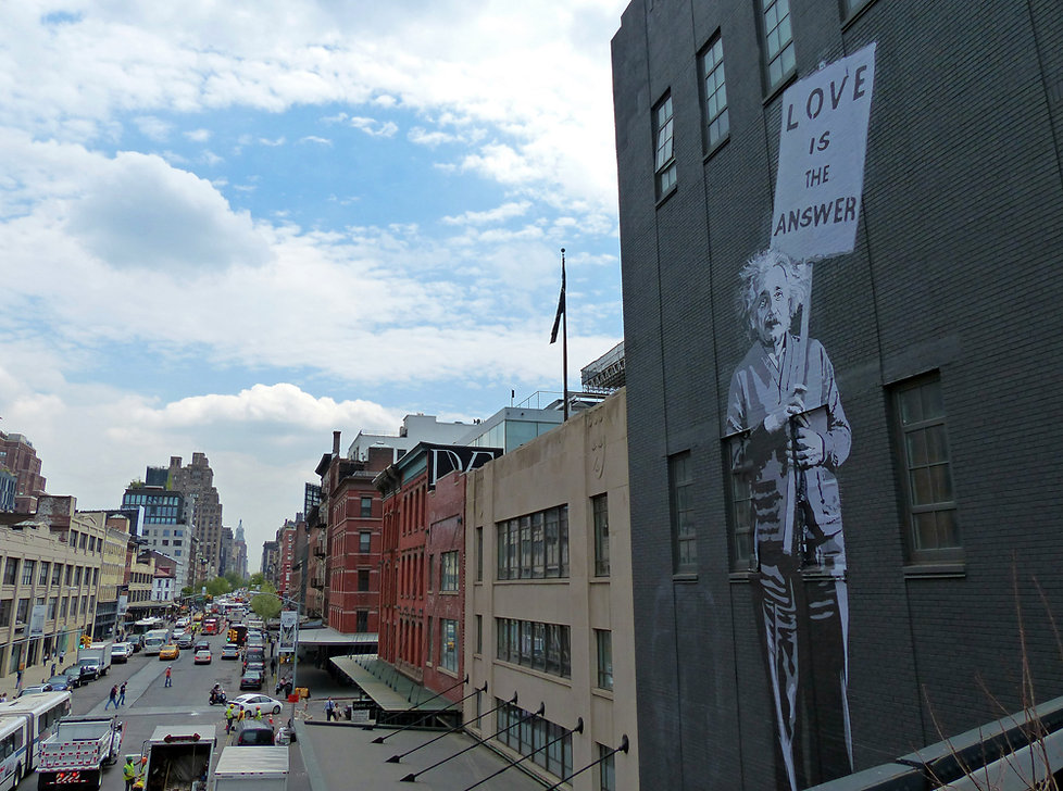 New-York - High Line - fresque einstein