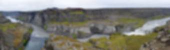 Jökulsárgljúfur canyon Jökulsá á Fjöllum rivière river Hafragilsfoss cascade waterfall panoramique