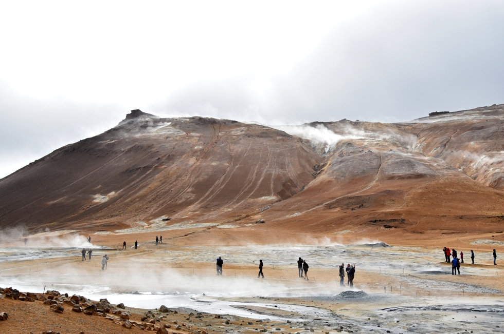 Islande Iceland Myvatn Hverir géothermique Namafjall fumerolle mare boue soufre