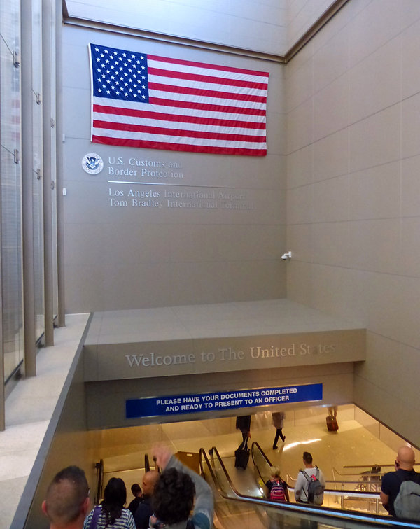 Aéroport Los Angeles - Drapeau - Welcom to the United States