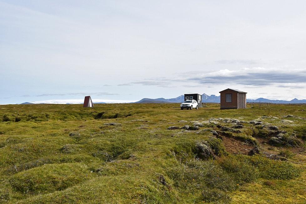 islande berges lac Hvítárvatn duster cabanes