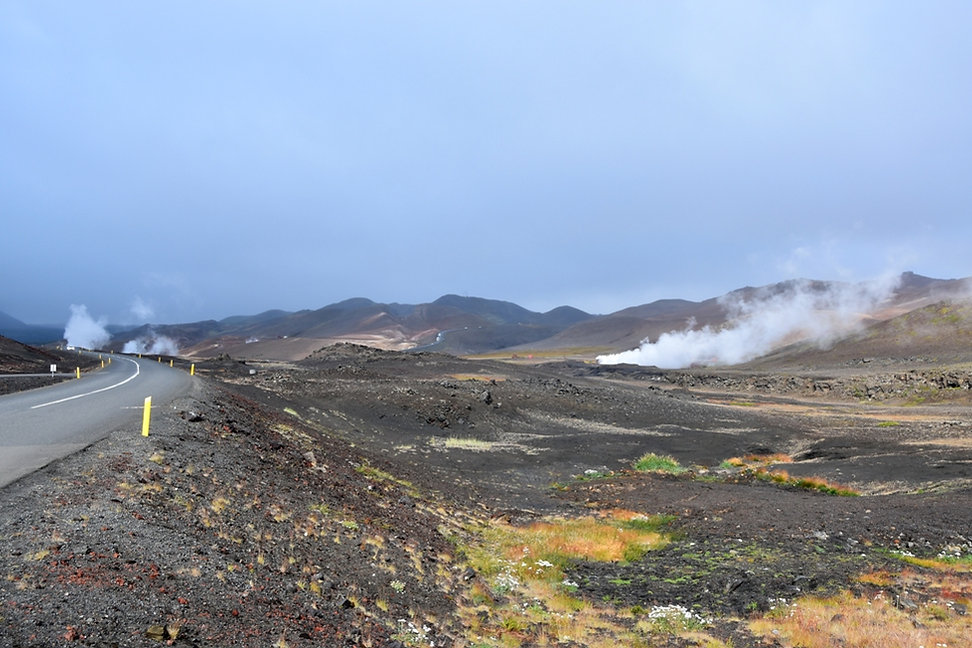 Islande Iceland Lac Myvatn route paysage volcanique fumerolles