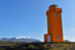 Islande péninsule Snæfellsnes Snaefellsjökull phare orange Svörtuloft