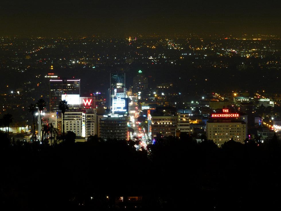 Los Angeles hollywood hills night