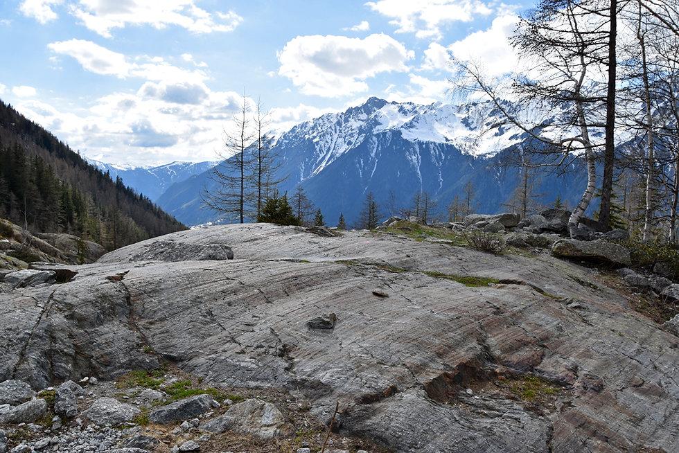 Chamonix - Rochers des Mottets - Roche strié glacier