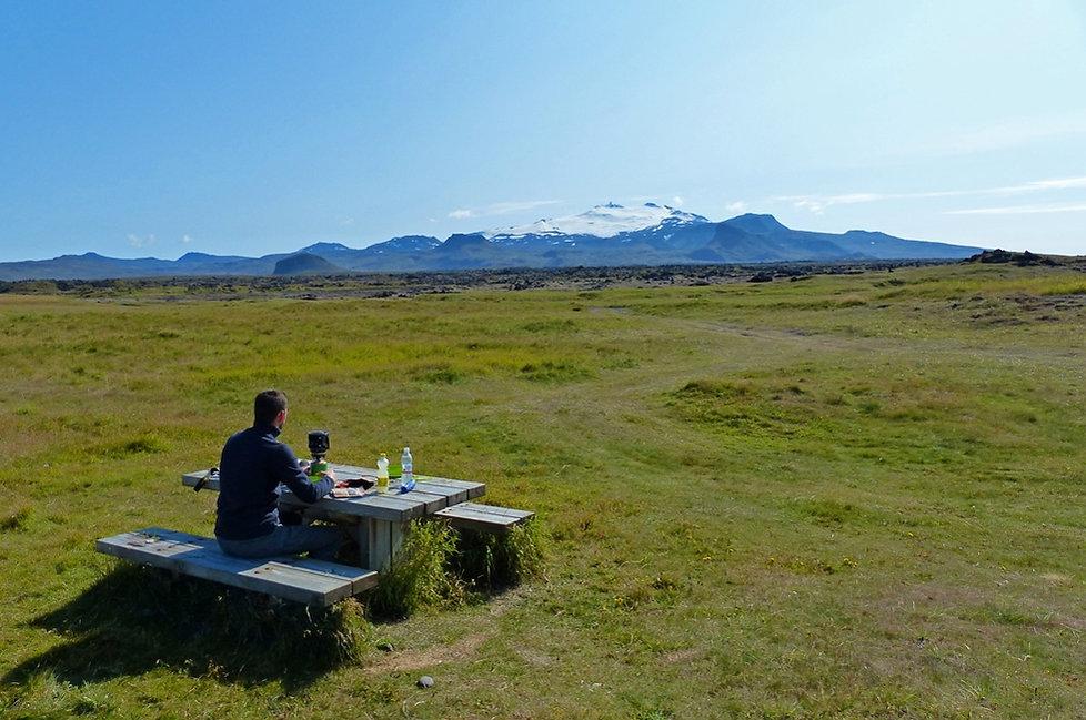 Islande Snaefellsjökull volcan aire pique-nique