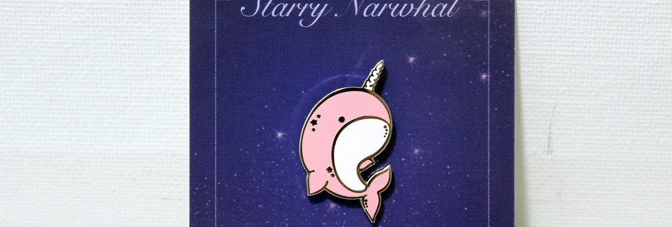Pink Starry Narwhal Enamel Pin