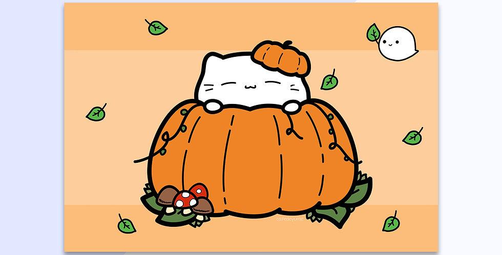 Pumpkin Cat Mini Print