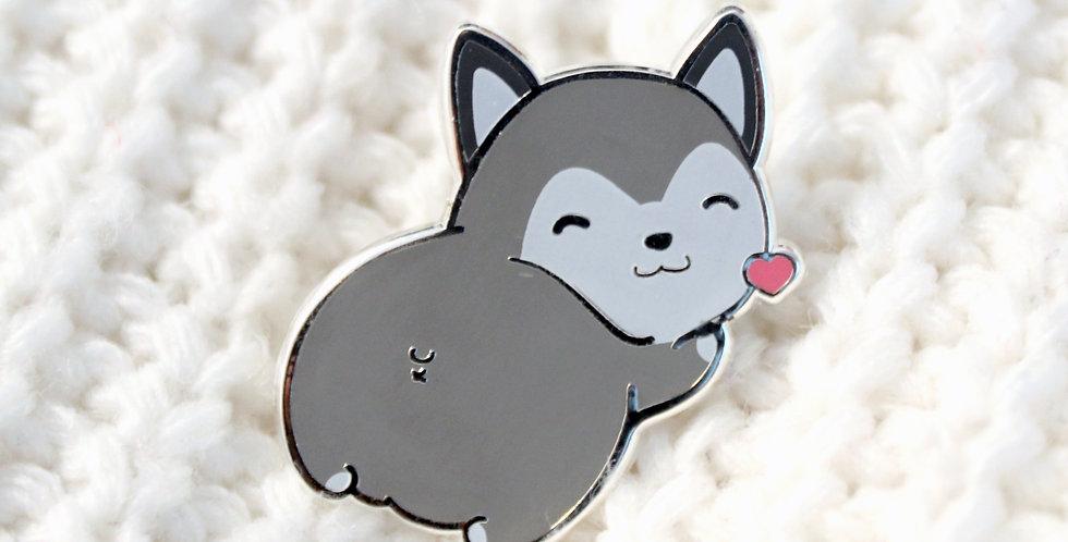 Husky Butt Enamel Pin