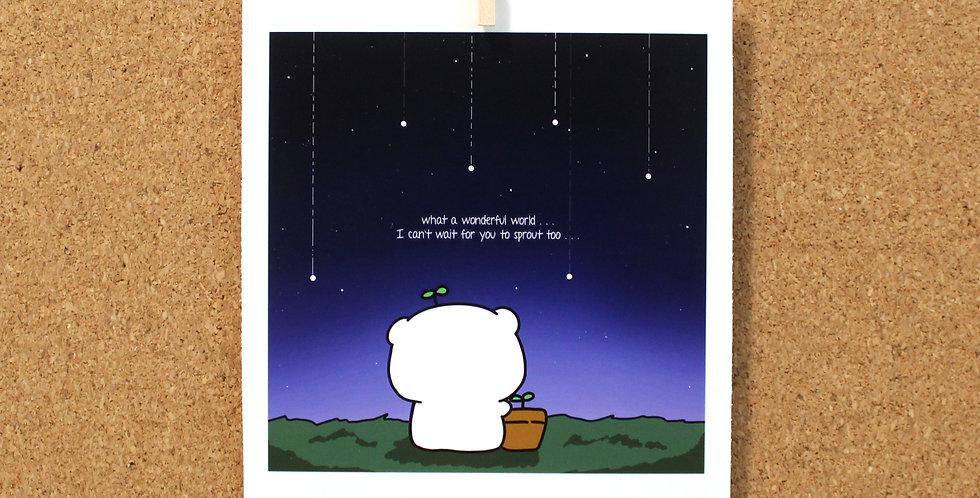 Sprout-kun and Bean Polaroid Print