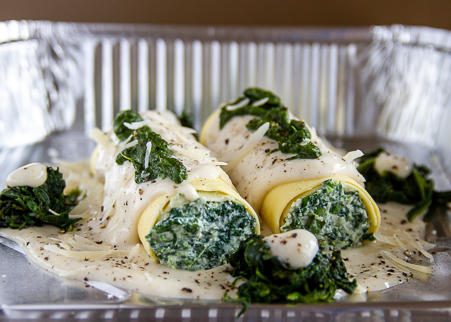 Delicious Food Photography Maidenhead | Rolled Pasta stuffed with Spinach