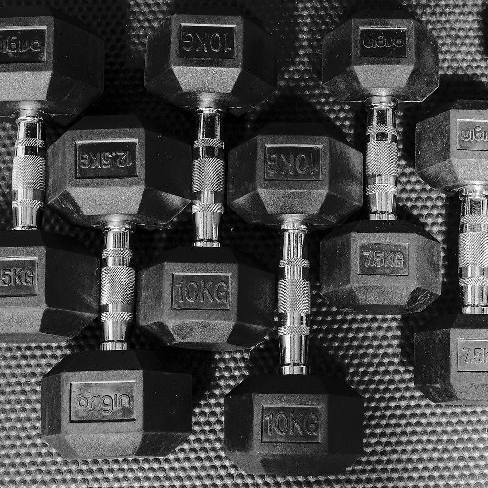 Black and white image of free weights lined up.