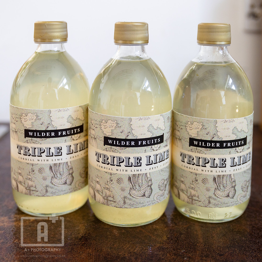 Product photography  | Three bottles of premium lime cordial from Berkshire drinks company, Wilder Fruits