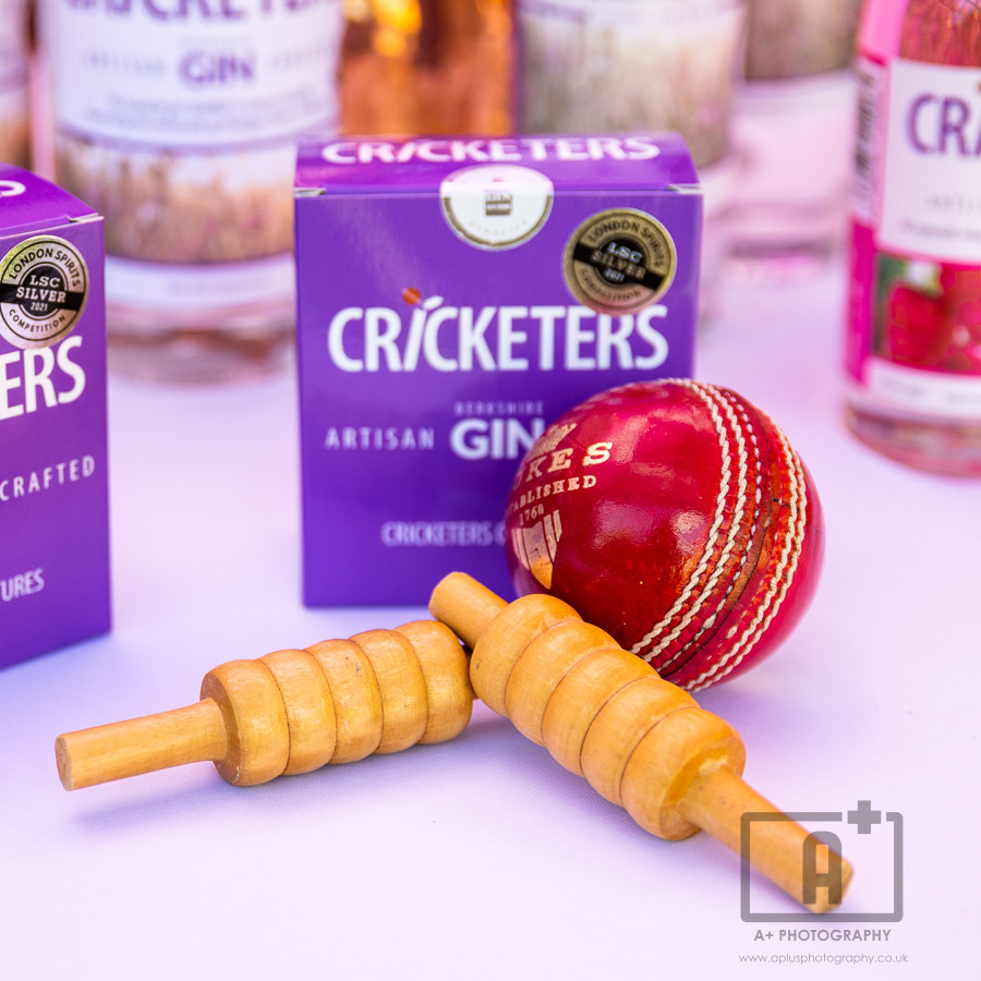 Cricket ball and bales with Berkshire produced gin