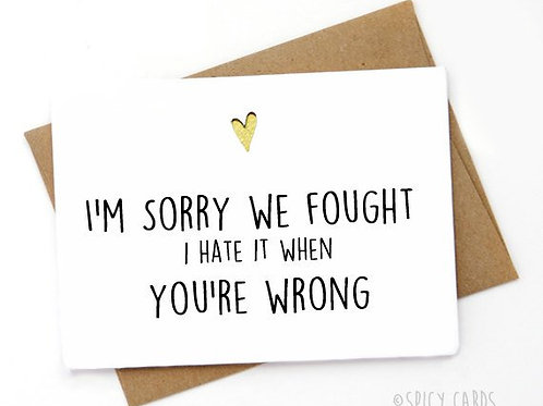 I'm Sorry We Fought I Hate it When You're Wrong