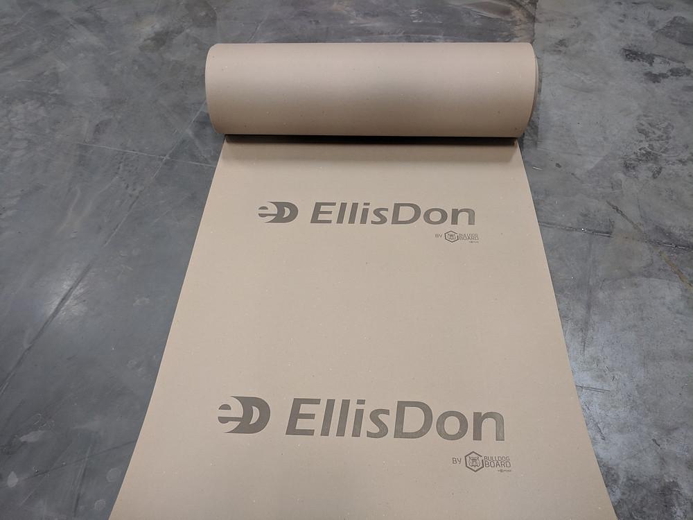 EllisDon Construction Custom Printed Bulldog Board Temporary Floor Protection