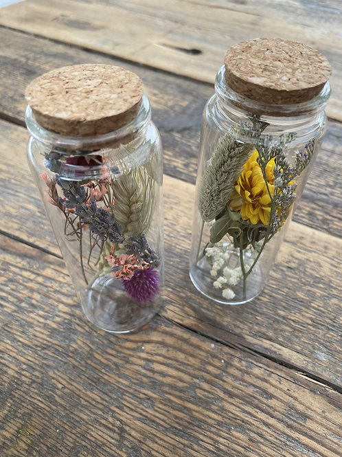 Mini Glass Bottle with Dried Blooms