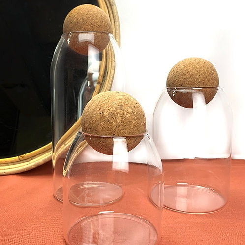 Glass Canister Set Round Cork Top