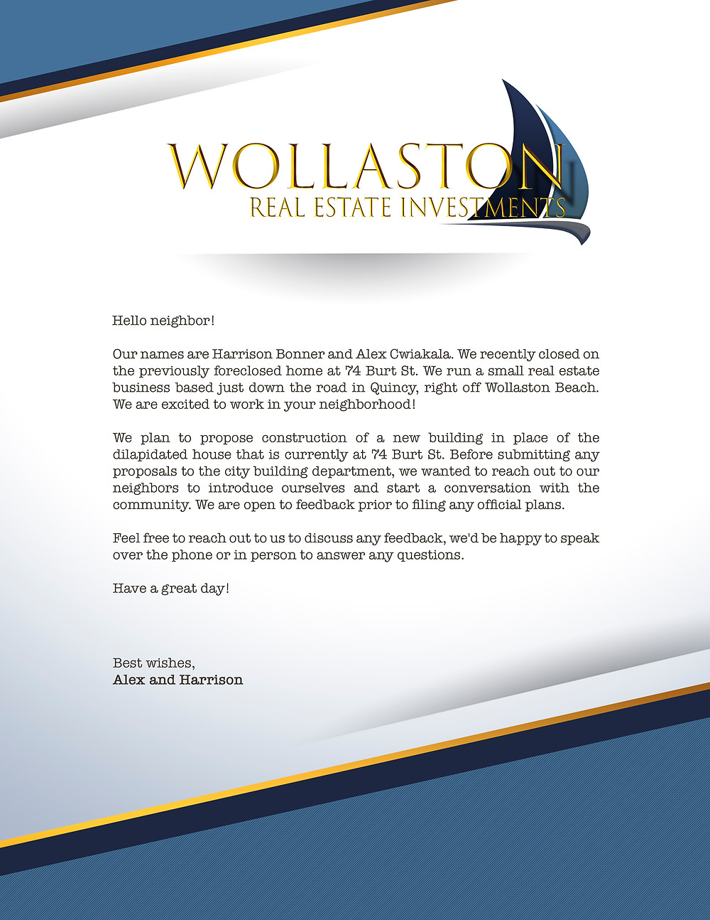 Wollaston Real Estate Investments