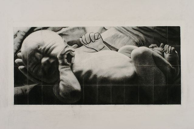 "Billboard Baby: On Time, original charcoal drawing,10"" x 20"""
