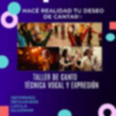 Taller de Canto Dias Sabados Flyer 2020.