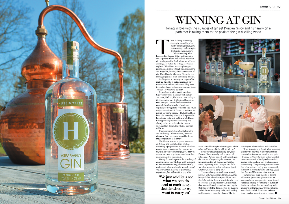 Hussingtree Gin featured in Midlands Living Magazine February 2020