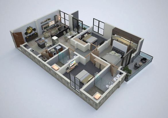 Apartment floor plan render