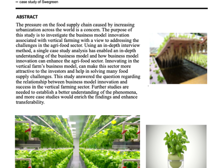 Business Model Innovation Associated with Vertical Farming in Sweden