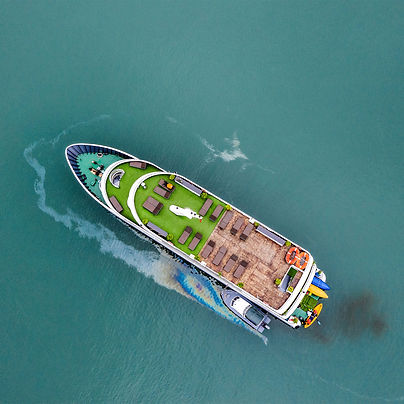 Aerial view of a Vietnamese luxury boat