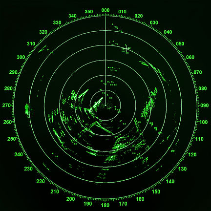 Modern ship radar screen with green roun