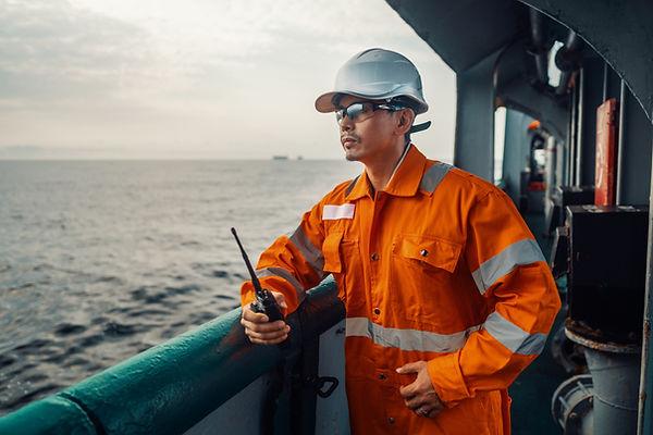 Filipino deck Officer on deck of vessel