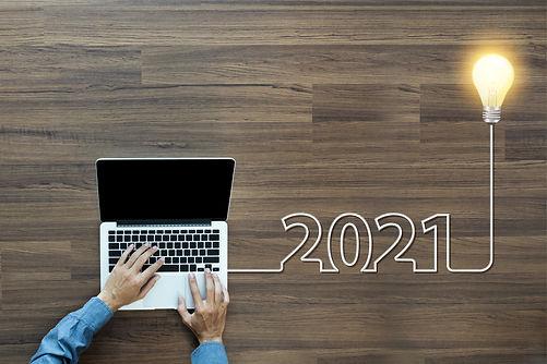 Creative light bulb idea 2021 new year,